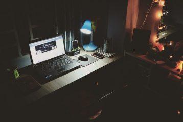 computer in dark room